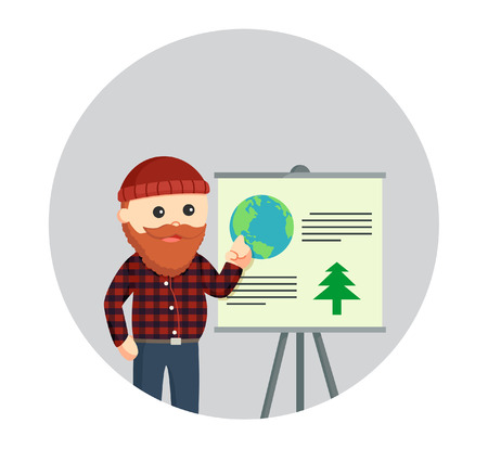 logging: fat lumberjack giving presentation about logging in circle background
