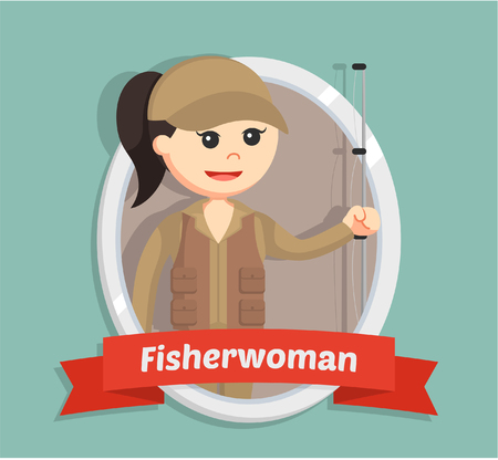 fisher woman in emblem