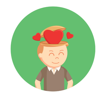 man with love in his head in circle background