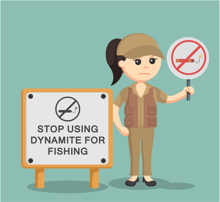 fisher woman  holding no dynamite fishing sign