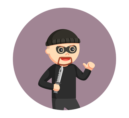 man thief with knife in circle background Illustration