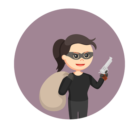 woman thief with action pose in circle background Illustration