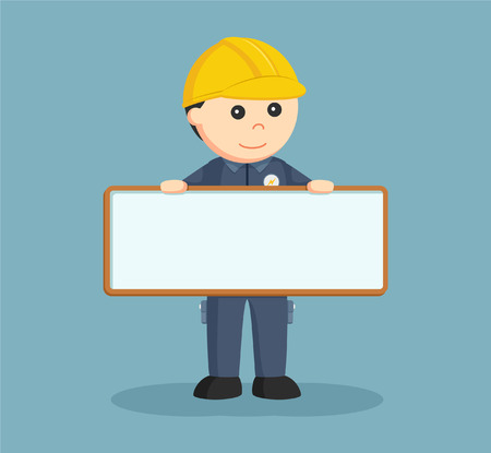 electrician with empty board sign Vector Illustration