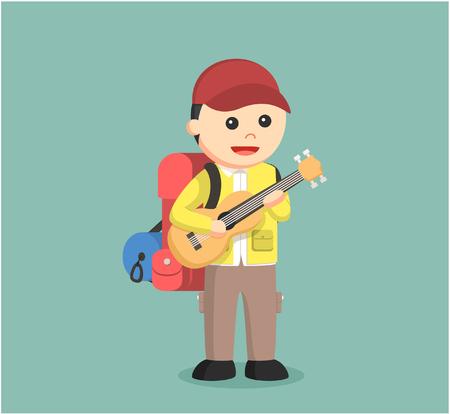 hiking trail: hiker playing guitar illustration design Illustration