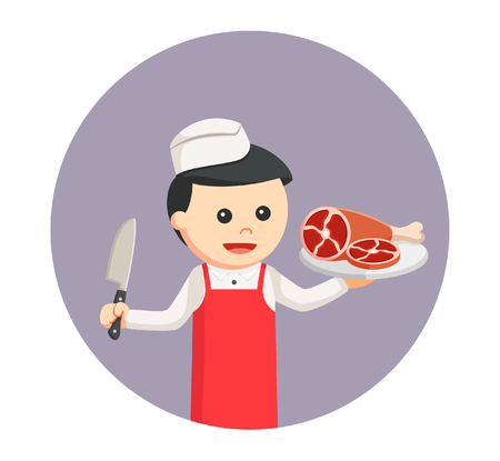 butcher man with meat in circle background