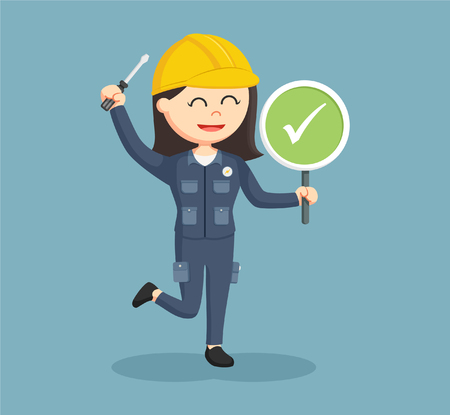 handywoman: female electrician with checklist sign