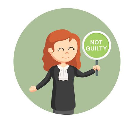 Rechter vrouw met niet schuldig teken op cirkel achtergrond. Stock Illustratie