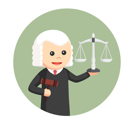 wig: judge with gavel and scale in circle background Illustration