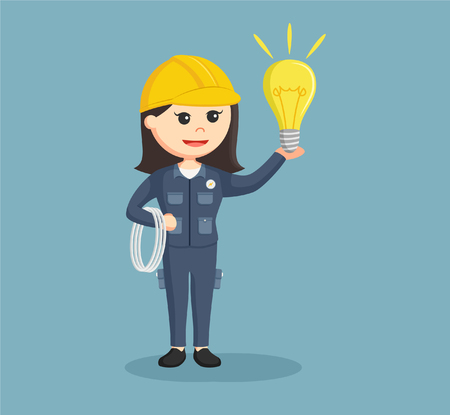 female electrician with cables and bulb Illustration