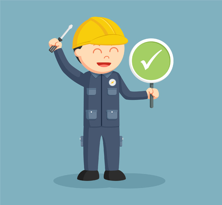electrician with checklist sign Illustration