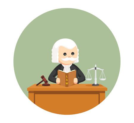 サークル バック グラウンドで法律の本を読んで脂肪の裁判官  イラスト・ベクター素材