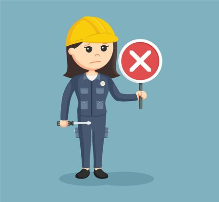female electrician with crosswise sign Illustration