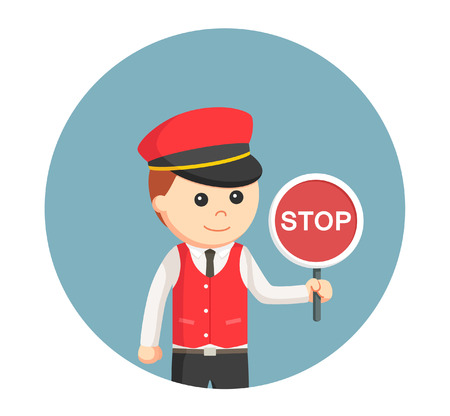 male valet with stop sign in circle background Illustration