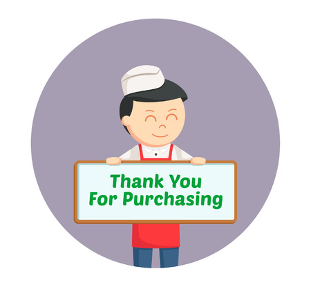 compliments: butcher man with compliments board in circle background Illustration