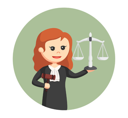 judge woman with gavel and scale in circle background