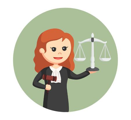 rechter vrouw met hamer en schaal in cirkel achtergrond Vector Illustratie