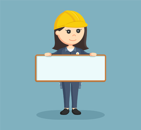 female electrician with empty board sign Vector Illustration