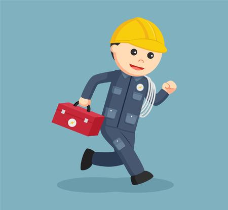 electrician running illustration design Illustration