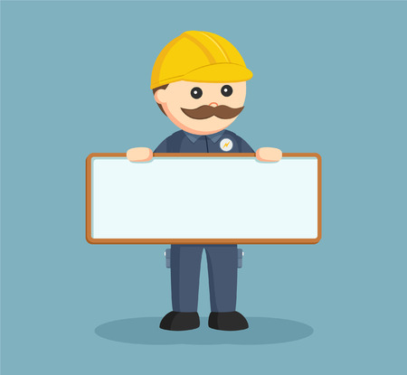 fat electrician with empty board sign Vector Illustration