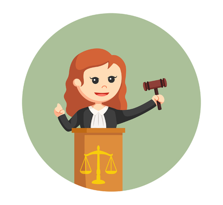 judge woman with podium in circle background