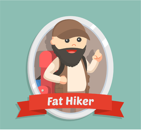 hiking trail: fat hiker in emblem Illustration