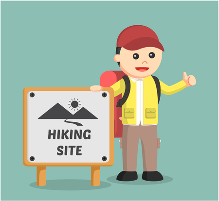 hiking trail: hiker standing beside hiking site sign Illustration