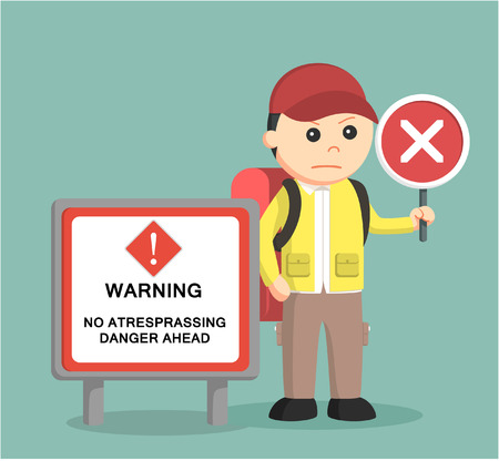 alpine zone: hiker standing beside danger sign