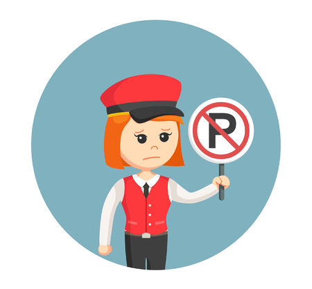 female valet with forbidden parking sign in circle background