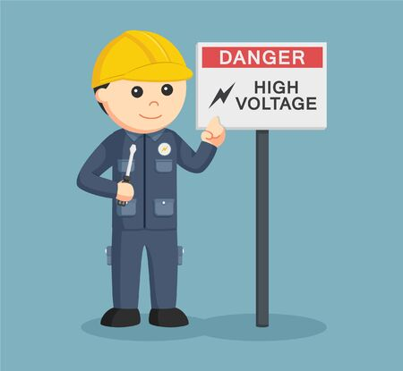 general warning: electrician with high voltage sign Illustration