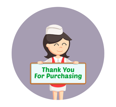 compliments: butcher woman with compliments board in circle background Illustration