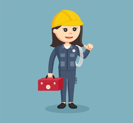 handywoman: female electrician with tool box and cables