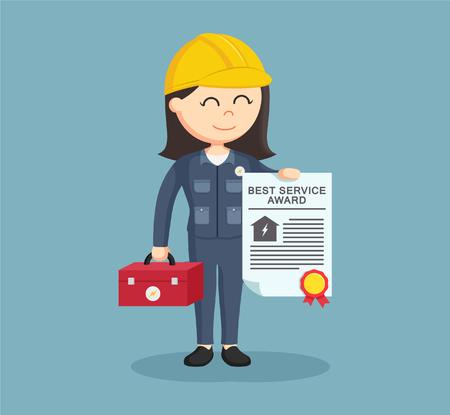 handywoman: female electrician showing her award certificate