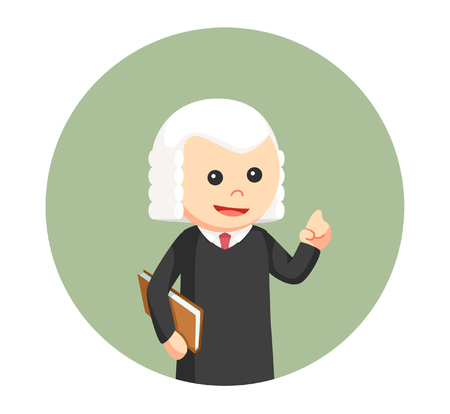 wig: judge with book in circle background Illustration