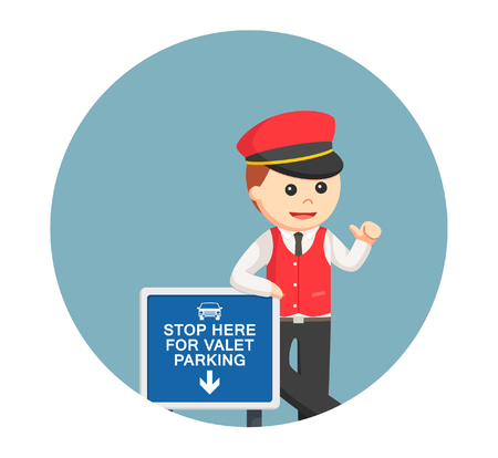valet: male valet standing beside sign in circle background