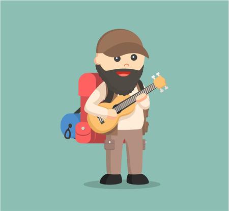 hiking trail: fat hiker playing guitar