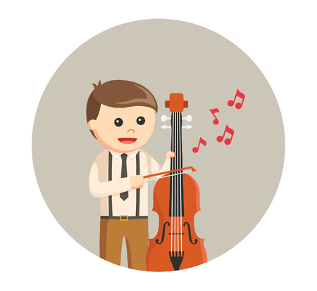 contra bass: musician with counter bass Illustration