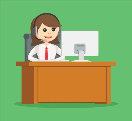 desk work: call center woman with her work desk
