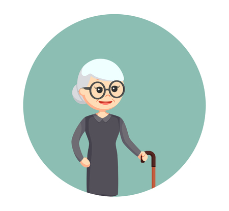 glasse: old woman with walking stick