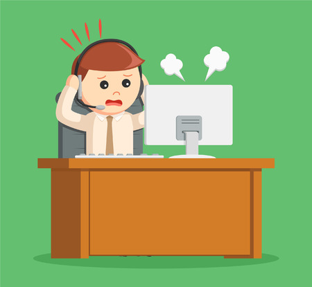scolded: call center man panic while work