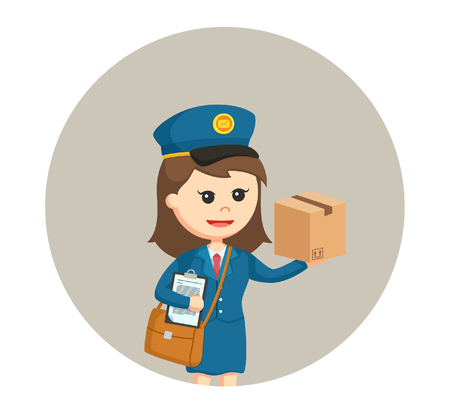 postwoman with clipboard and parcel