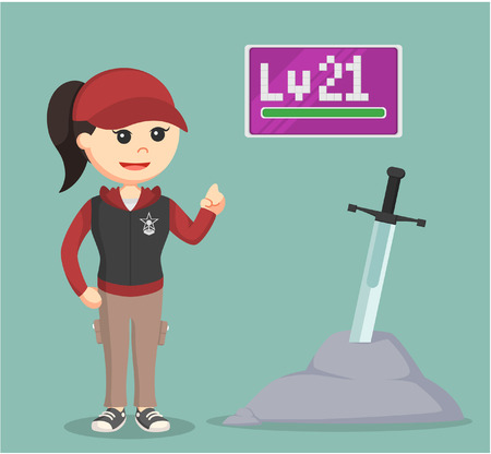 addictive: level 21 female rpg gamer standing beside legendary sword