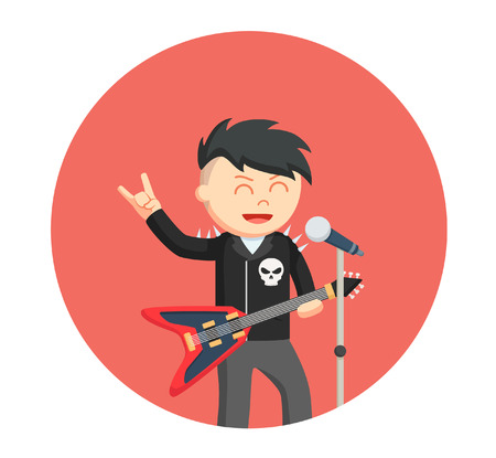 rock singer man in circle background Vectores
