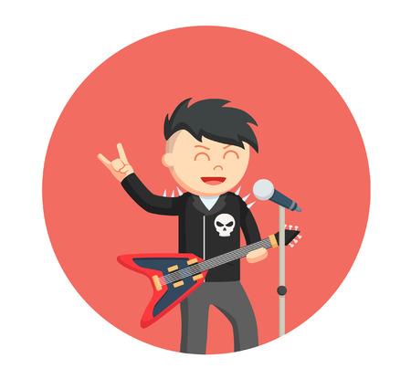 rock singer man in circle background Illustration
