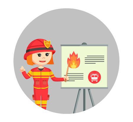 Fuego, mujer, dar, presentación
