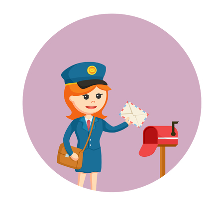 Post-femme avec boîte-mail