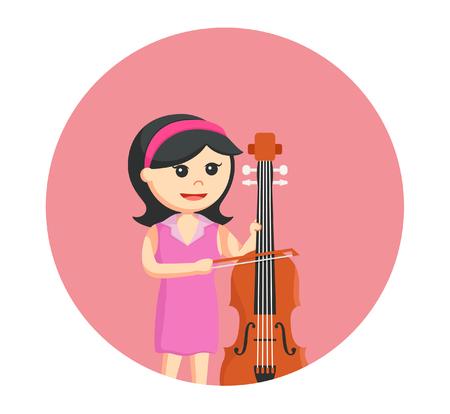 woman musician playing counter bass Illustration