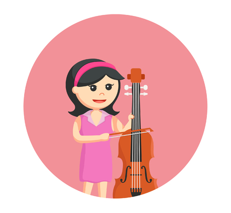 palying: woman musician playing counter bass Illustration