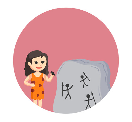 neanderthal women: cave woman writing in stone Illustration