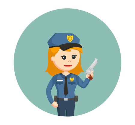 guard duty: police woman with handgun Illustration