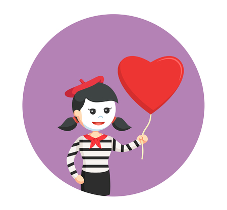 mime girl with heart shape balloon Illustration